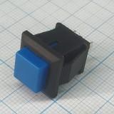 Кнопка квадратная голубая под пайку